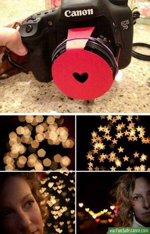DIY camera lens cover for shaped bokeh photo effect