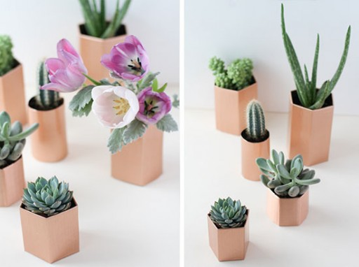 DIY faux copper flower pots in five minutes