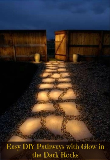 DIY glow in the dark garden pathway