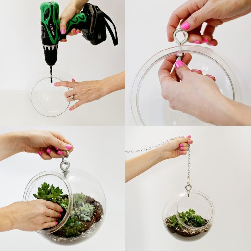 DIY plastic fishbowl hanging planter tutorial