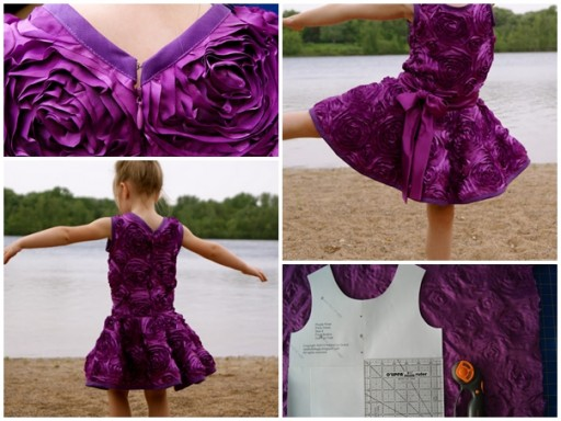 DIY purple rose party dress tutorial
