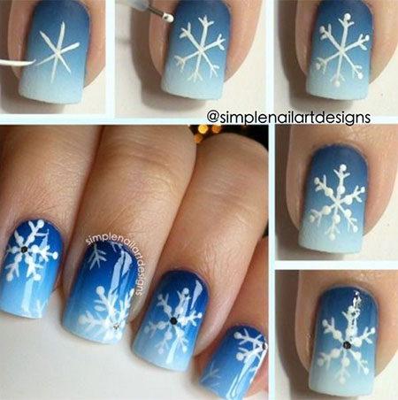 DIY snowflake nail art tutorial