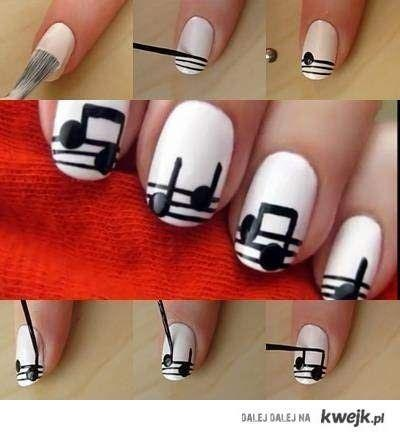 How to create pretty artistic music notes nail art manicure step by step DIY tutorial instructions