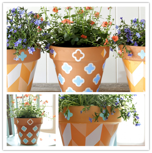How to decorate planting pots with self adhesive shelf liner