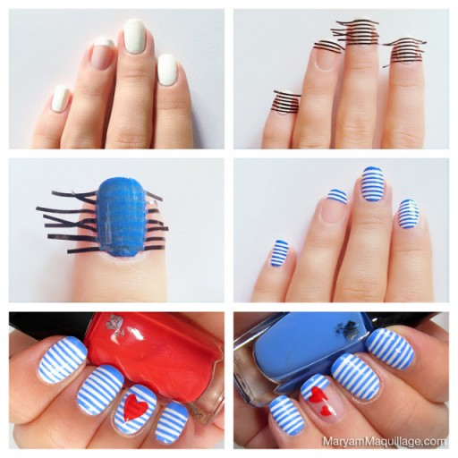 How to do DIY sailor stripes nail art manicure step by step tutorial instructions