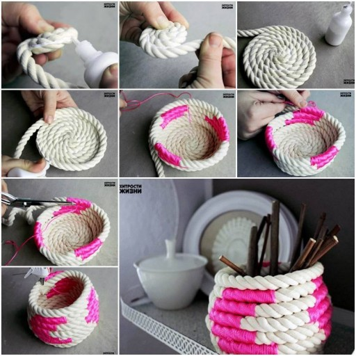 How to make DIY color block coiled rope basket