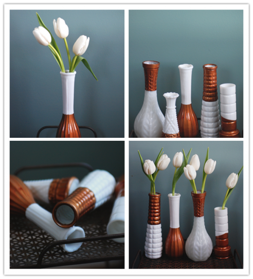 How to make DIY copper dipped milk glass vases