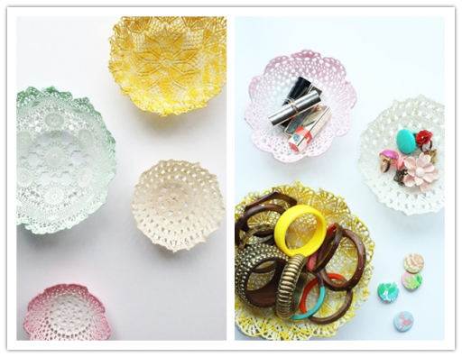 How to make DIY doily bowls to store small items