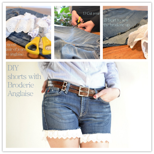 How to make DIY jean shorts with Broderie Anglaise