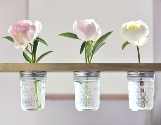 How to make DIY mason jar flower shelf
