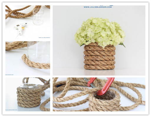 How to make DIY nautical rope vase
