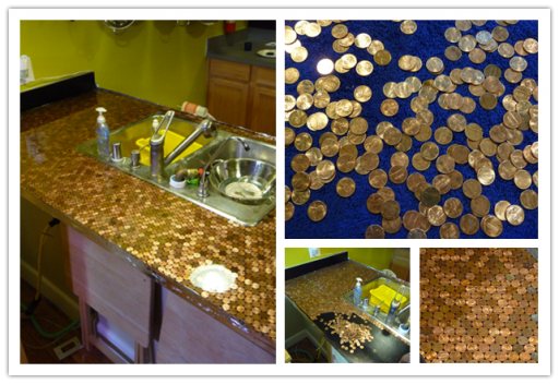 How to make DIY penny countertop