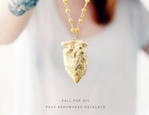 How to make golden faux arrowhead necklace 2