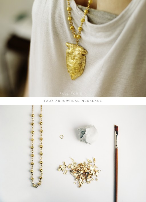 How to make golden faux arrowhead necklace