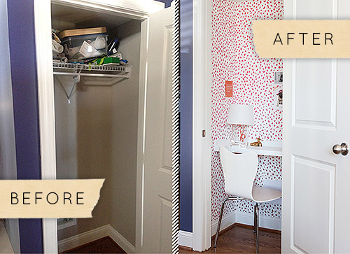 How to transform a tiny closet into a charming home office for Transform small closet space