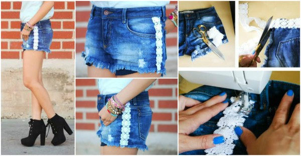 DIY Lace Trim Shorts