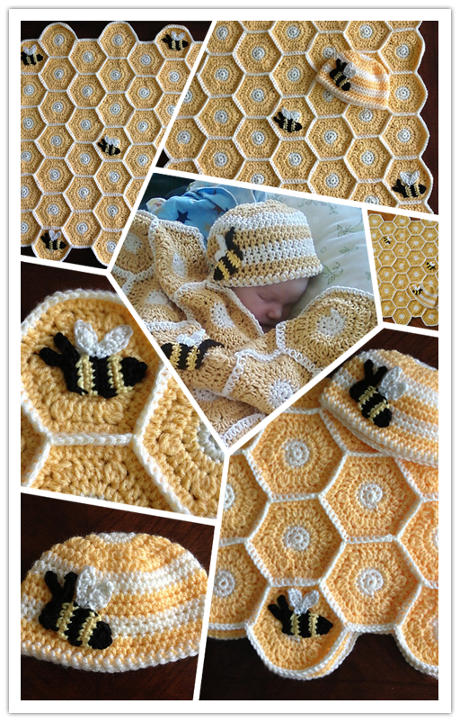 DIY crochet honey bee baby blanket and hat set pattern 3