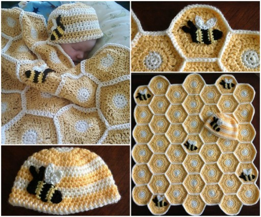 DIY crochet honey bee baby blanket and hat set pattern