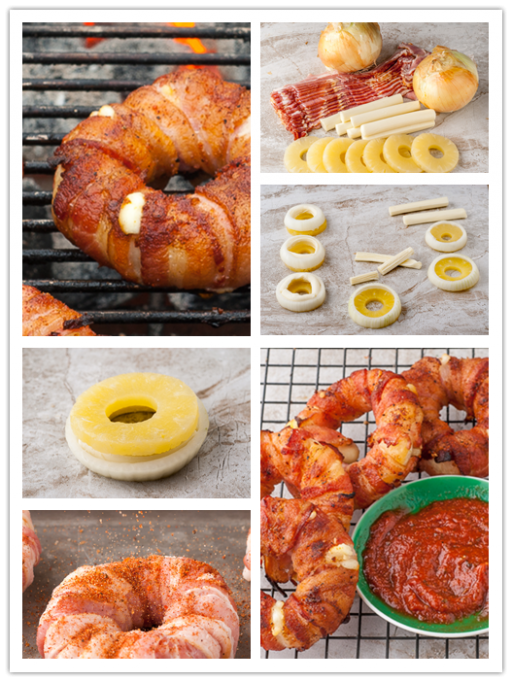 Homemade bacon wrapped pineapple mozzarella ring recipe2