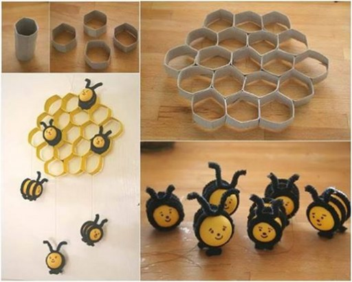 how to make diy bee hive decoration with toilet paper