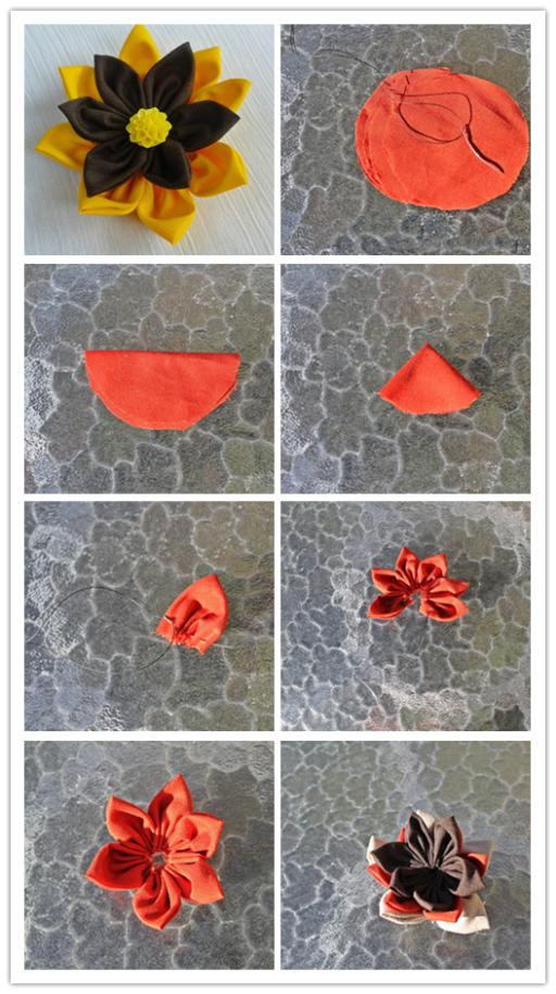 How To Make colorful DIY fabric flower 1