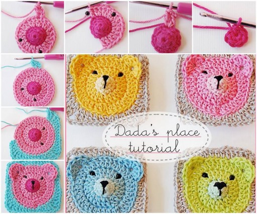 How to DIY crochet teddy bear granny square tutorial