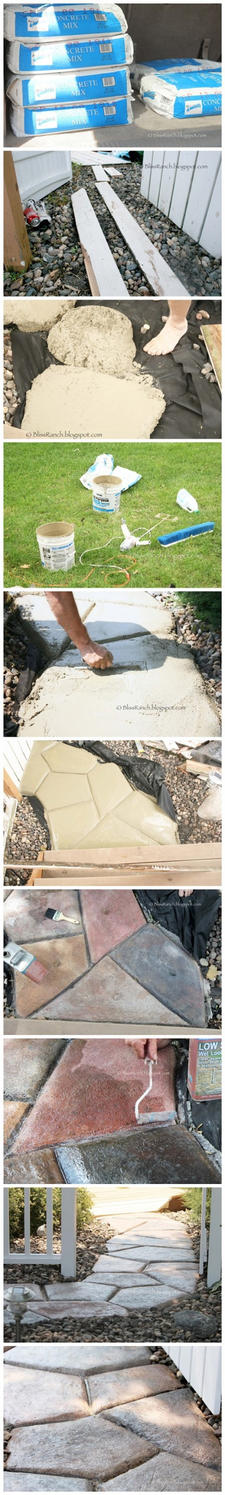How to DIY stone-look concrete garden walkway 2