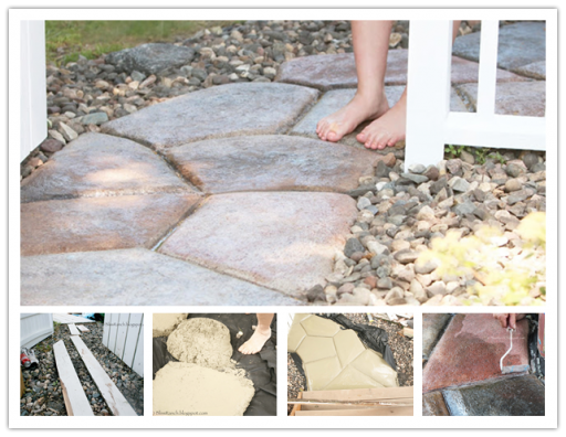 How to DIY stone-look concrete garden walkway