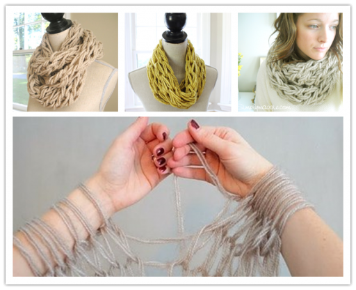 How to arm knit a DIY scarf in 30 minutes