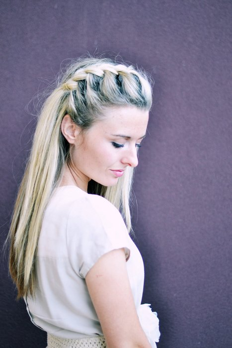 How to do DIY half up side French braid hairstyle 1