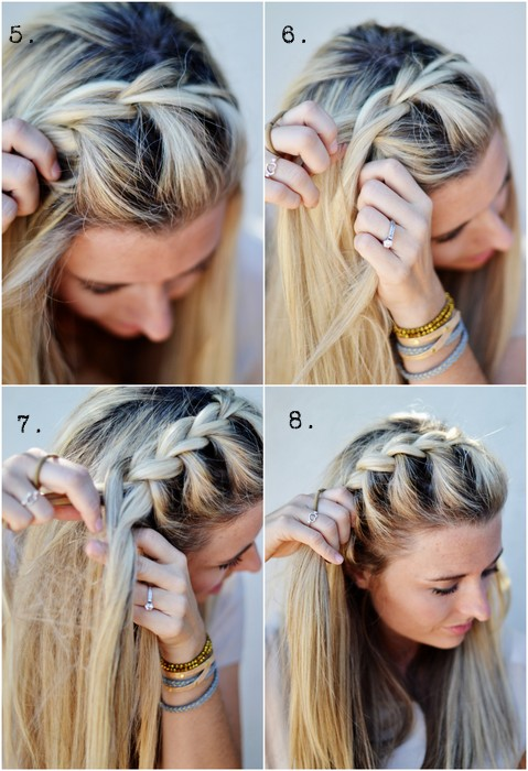 How to do DIY half up side French braid hairstyle 3
