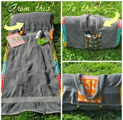 How to make DIY beach towel blanket bag