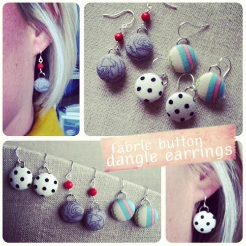 How to make DIY fabric button dangle earrings