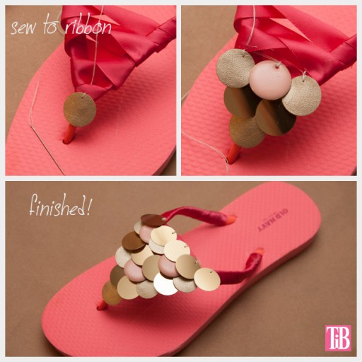 How to make DIY flip flops with paillettes 3
