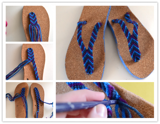 How to make DIY friendship bracelet strap flip flops