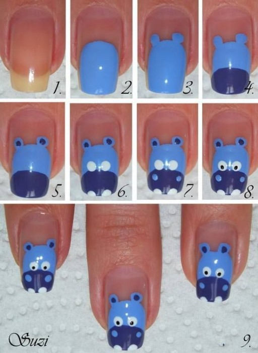 How to make DIY hippo nail art