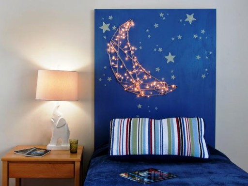 How to make DIY kids' headboard with cute built in nightlights