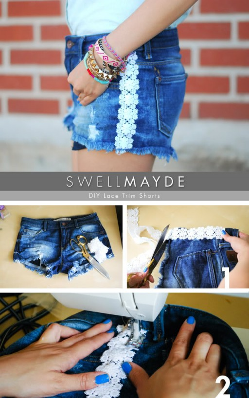 How to make DIY lace trim shorts