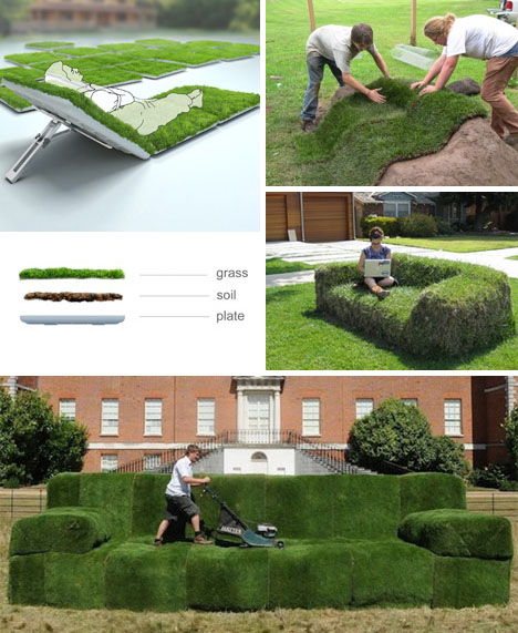 How to make DIY real green grass lawn lounger sod sofas 2