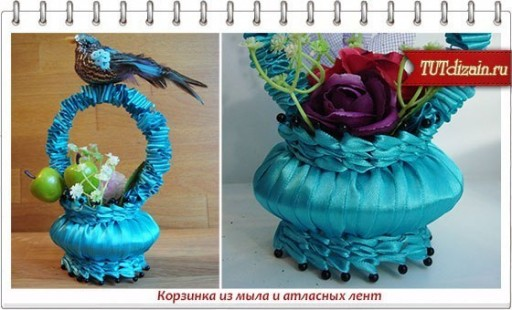 How to make DIY ribbon wrapped soap flower basket 1