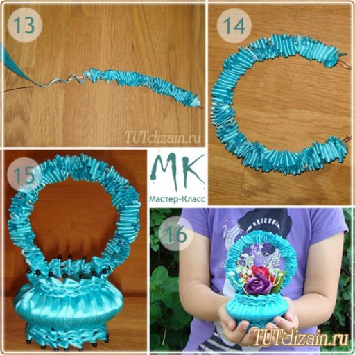 How to make DIY ribbon wrapped soap flower basket 5