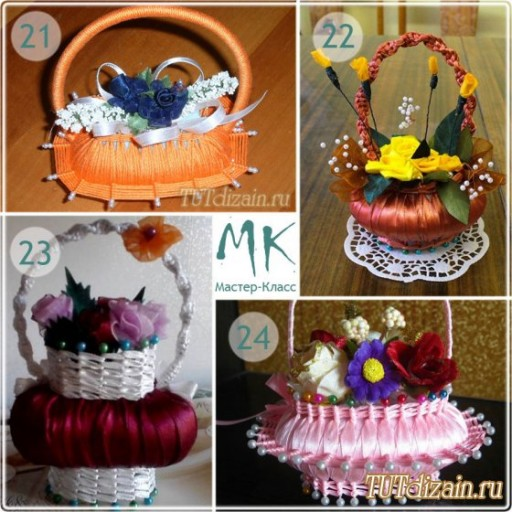 How to make DIY ribbon wrapped soap flower basket 7