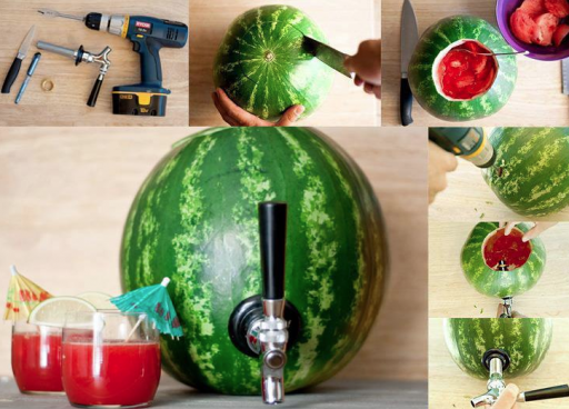 How to make DIY watermelon cocktail dispenser