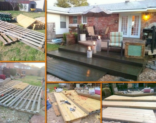 How to make DIY wooden deck from recycled pallets