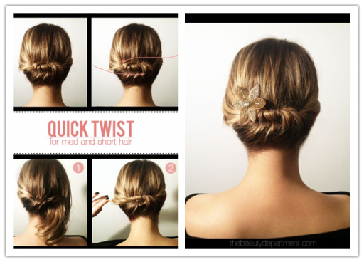 How to make cute DIY updo hairstyle for short to medium hair
