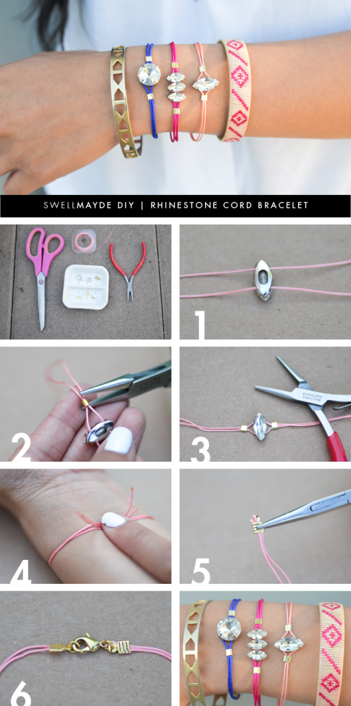 How to make pretty DIY rhinestone cord bracelet 2