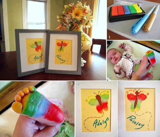 How to make rainbow butterfly baby footprint artwork