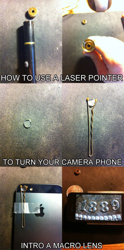How to use laser pointer as an iPhone macro lens