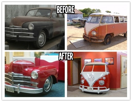 Repurpose classic cars into cool furniture