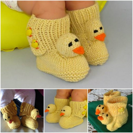 how to knit DIY baby chick booties with free patterns